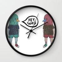 birdman Wall Clocks featuring BIRDMAN by Levi Gosteli