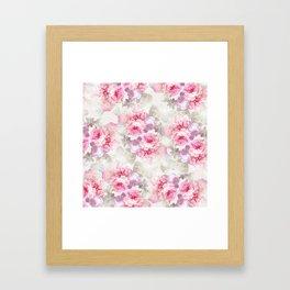 Elegant blush pink lavender ivory romantic roses floral Framed Art Print