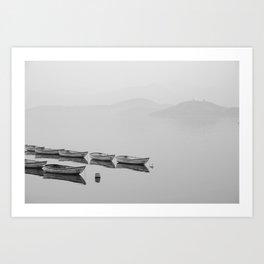 Small boat lake black white Art Print