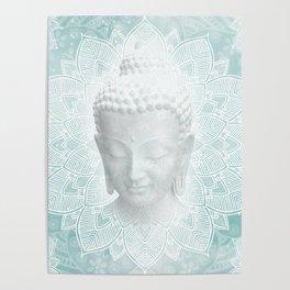 Tibetan Dream Blue White Buddha Mandala Poster