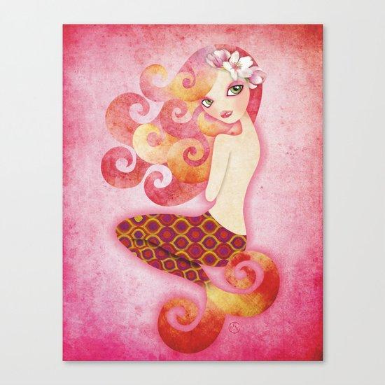 Coraleen, Mermaid in Pink Canvas Print