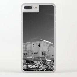 BEACH - California Beach Towers - Monochrome Clear iPhone Case