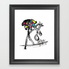 The Sad Fisherman and the Running Scissors Framed Art Print