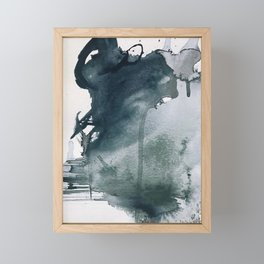 Lakeside: a minimal, abstract, watercolor and ink piece in shades of blue and green Framed Mini Art Print