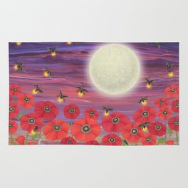 purple sky, fireflies, snails, and poppies Rug