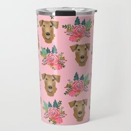 Airedale dog floral print airedale dog purple florals airedale dog fabric airedale pillow Travel Mug