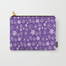 Snowflake Snowstorm With Purple Background Carry-All Pouch