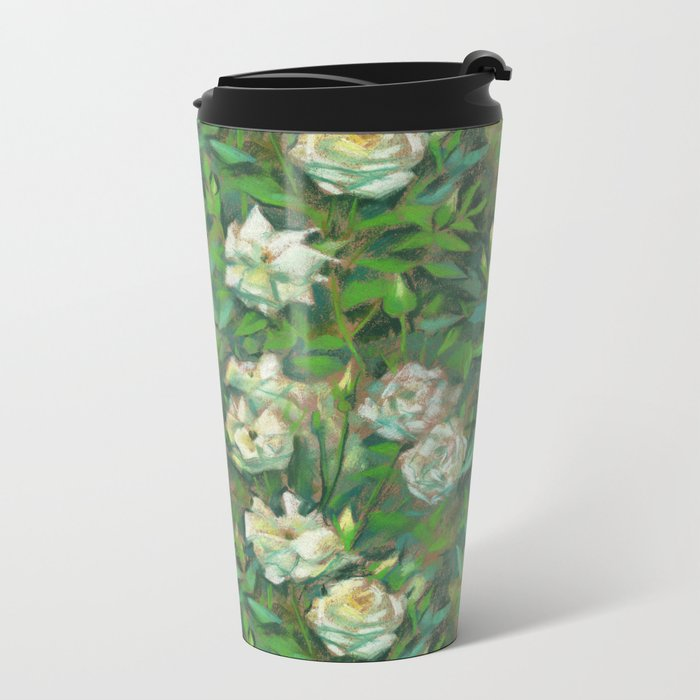 """White roses, green leaves"", pastel painting, floral art Metal Travel Mug"