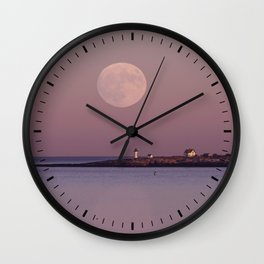 Lighthouse Moonrise Wall Clock