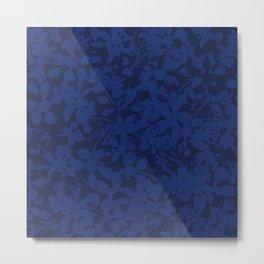 Blue on Blue - Broken but Flourishing Botanical Pattern Metal Print