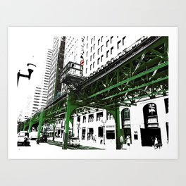 Chicago photography - Chicago EL art print in green black and white Art Print