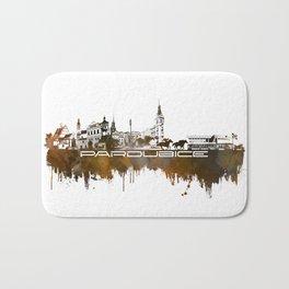 Pardubice skyline city brown Bath Mat