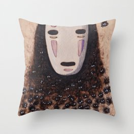 No Face - Spirited Away with Soot sprites (Susuwatari) Throw Pillow