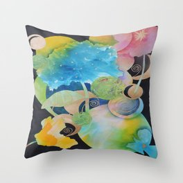 Mother Nature-The Sun, The Moon, The Earth and Some Flowers-Abstract Throw Pillow