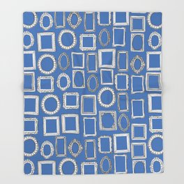 picture frames blue Throw Blanket