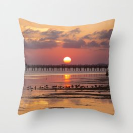 Sunset in Corolla Throw Pillow