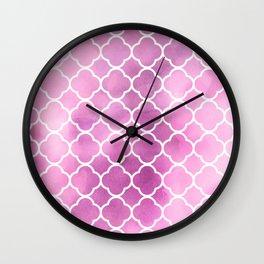 Quatrefoil Shape, Watercolors - Pink White Wall Clock