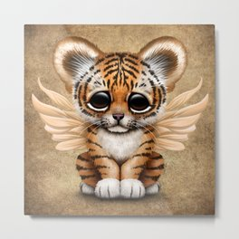 Cute Baby Tiger Cub with Fairy Wings  Metal Print
