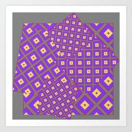 GREY PURPLE CREAM MODERN SQUARES ART Art Print