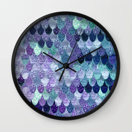 SUMMER MERMAID  Purple & Mint by Monika Strigel Wall Clock