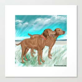 Vizslas by the Sea Canvas Print
