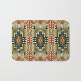 Orange Red Olive Green Native American Indian Mosaic Pattern Bath Mat