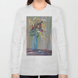 Flowers in a Blue Vase Soft Focus Long Sleeve T-shirt