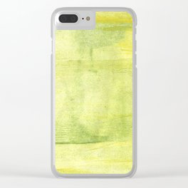 Yellow green watercolor Clear iPhone Case