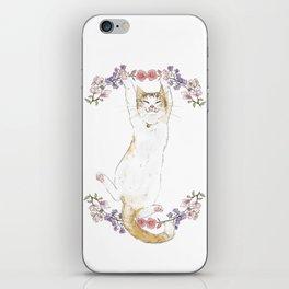 Fuku the Cat in Floral Wreath iPhone Skin