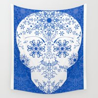 china Wall Tapestries featuring Blue China by Christie Kovalchick