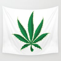 marijuana Wall Tapestries featuring Marijuana Pot Leaf by BudProducts.us