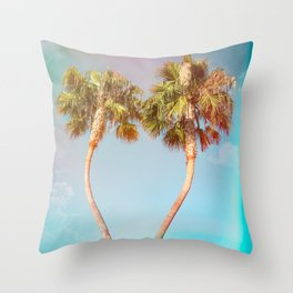 Lovers Palm Trees  {Rainbow Edition} with Light leak Throw Pillow