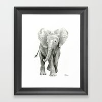 Baby Elephant Watercolor Framed Art Print