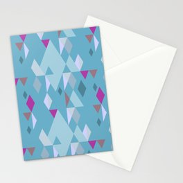 Rhombuses on green-blue background, abstract seamless pattern Stationery Cards
