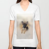 german shepherd V-neck T-shirts featuring German Shepherd by Judith Lee Folde Photography & Art