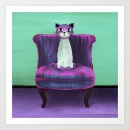 Elegant Cat turquoise Art Print