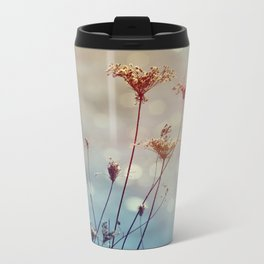 Soft Queen Anne's Lace and Bokeh Metal Travel Mug