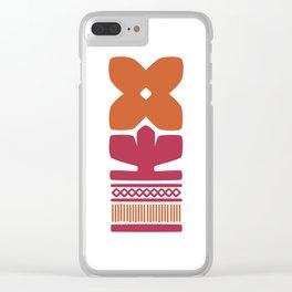 Nordic Orange Flower Clear iPhone Case