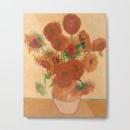 Still Life: Vase with Fourteen Sunflowers by Vincent van Gogh Metal Print