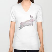rabbit V-neck T-shirts featuring White Rabbit by Ben Geiger