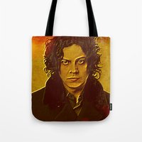jack white Tote Bags featuring Jack White by yahtz designs