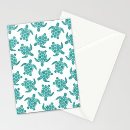 Save The Turtles in Teal Stationery Cards