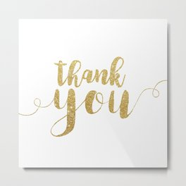 Thank You | Gold Glitter Metal Print