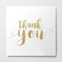 Thank You | Gold Glitter Metal Print