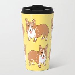 Happy Corgi Pattern Travel Mug
