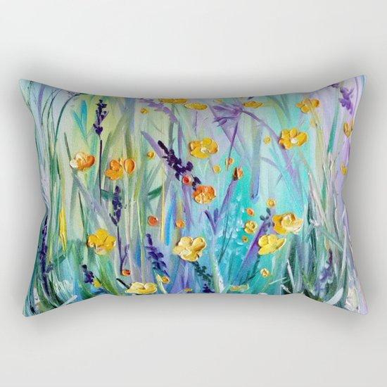 Flowers field at dawn Rectangular Pillow