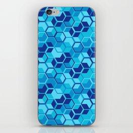 Blue Hexagon Geometric Pattern iPhone Skin