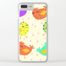 happy colored birds Clear iPhone Case