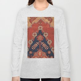 Southwest Tuscan Shapes III // 18th Century Aged Dark Blue Redish Yellow Colorful Ornate Rug Pattern Long Sleeve T-shirt