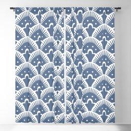 Fan Pattern 331 Monaco Blue Blackout Curtain